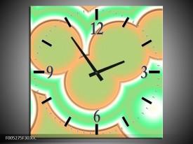 Wandklok op Canvas Modern | Kleur: Oranje, Groen, Wit | F005275C