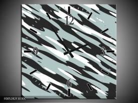 Wandklok op Canvas Modern | Kleur: Zwart, Wit, Grijs | F005282C