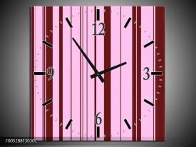 Wandklok op Canvas Modern | Kleur: Bruin, Roze | F005288C