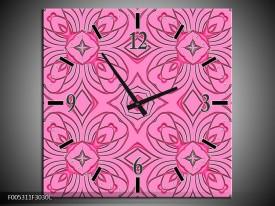 Wandklok op Canvas Modern | Kleur: Paars, Roze, Zwart | F005311C