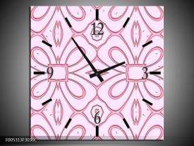 Wandklok op Canvas Modern | Kleur: Roze, Grijs | F005313C