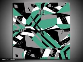 Wandklok op Canvas Modern | Kleur: Groen, Wit, Grijs | F005317C