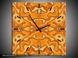 Wandklok op Canvas Modern   Kleur: Oranje, Geel, Wit   F005343C