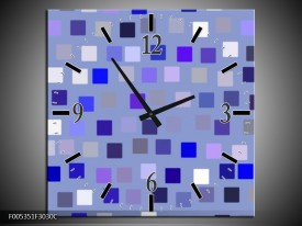 Wandklok op Canvas Modern | Kleur: Blauw, Wit, Grijs | F005351C