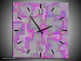 Wandklok op Canvas Modern | Kleur: Grijs, Paars, Roze | F005352C