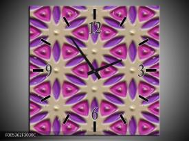 Wandklok op Canvas Modern | Kleur: Paars, Grijs, Roze | F005362C