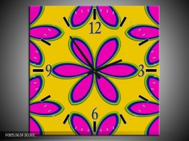 Wandklok op Canvas Modern | Kleur: Geel, Roze, Blauw | F005363C