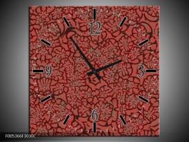 Wandklok op Canvas Modern | Kleur: Rood, Zwart | F005366C