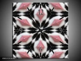 Wandklok op Canvas Modern | Kleur: Roze, Zwart, Wit | F005372C