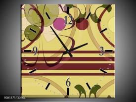 Wandklok op Canvas Modern | Kleur: Bruin, Roze, Groen | F005375C