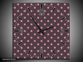 Wandklok op Canvas Modern | Kleur: Roze, Grijs | F005402C