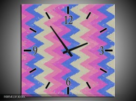 Wandklok op Canvas Modern | Kleur: Blauw, Paars, Roze | F005413C