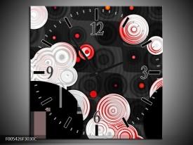 Wandklok op Canvas Modern   Kleur: Rood, Zwart, Wit   F005426C