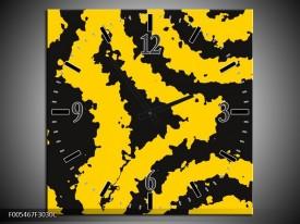Wandklok op Canvas Abstract   Kleur: Zwart, Geel   F005467C