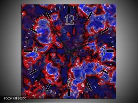 Wandklok op Canvas Abstract | Kleur: Blauw, Rood, Zwart | F005479C