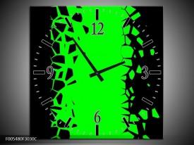 Wandklok op Canvas Abstract | Kleur: Groen, Zwart | F005480C