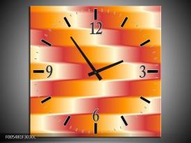 Wandklok op Canvas Abstract | Kleur: Oranje, Geel, Rood | F005481C