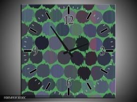 Wandklok op Canvas Abstract | Kleur: Groen, Zwart | F005493C