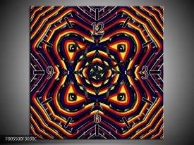 Wandklok op Canvas Abstract | Kleur: Geel, Oranje, Blauw | F005500C