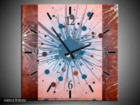 Wandklok op Canvas Art | Kleur: Bruin, Wit, Blauw | F005517C