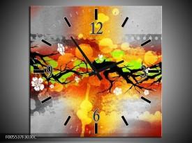 Wandklok op Canvas Art | Kleur: Oranje, Zwart, Geel | F005537C