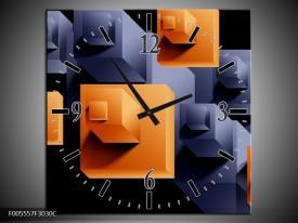 Wandklok op Canvas Art | Kleur: Oranje, Zwart, Grijs | F005557C