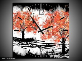 Wandklok op Canvas Bomen | Kleur: Oranje, Zwart, Wit | F005589C