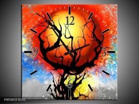 Wandklok op Canvas Boom | Kleur: Blauw, Zwart, Rood | F005601C