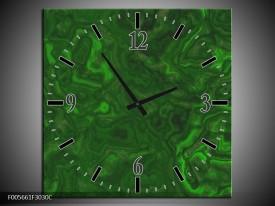 Wandklok op Canvas Art | Kleur: Groen, | F005661C