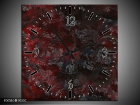 Wandklok op Canvas Art | Kleur: Rood, Zwart | F005664C