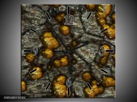 Wandklok op Canvas Art | Kleur: Geel, Grijs, Zwart | F005685C