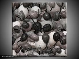 Wandklok op Canvas Stenen | Kleur: Zwart, Grijs, Wit | F005691C
