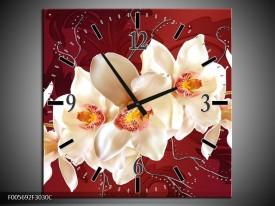 Wandklok op Canvas Orchidee   Kleur: Rood, Wit, Creme   F005692C