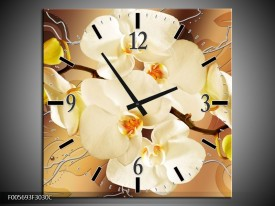 Wandklok op Canvas Orchidee | Kleur: Bruin, Creme | F005693C