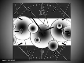 Wandklok op Canvas Cirkel | Kleur: Zwart, Wit | F005709C