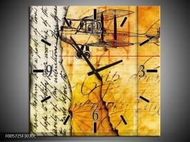 Wandklok op Canvas Vliegtuig | Kleur: Geel, Zwart | F005725C