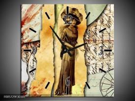 Wandklok op Canvas Vrouw   Kleur: Bruin, Rood   F005729C
