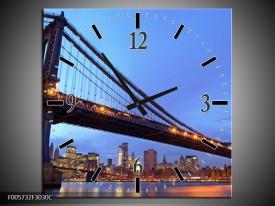 Wandklok op Canvas New York   Kleur: Blauw   F005732C