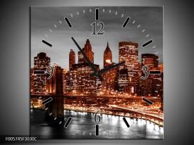 Wandklok op Canvas New York | Kleur: Bruin, Zwart | F005745C