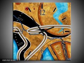 Wandklok op Canvas Cirkel | Kleur: Bruin, Blauw | F005782C