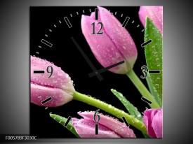 Wandklok op Canvas Tulpen | Kleur: Roze, Zwart, Groen | F005789C