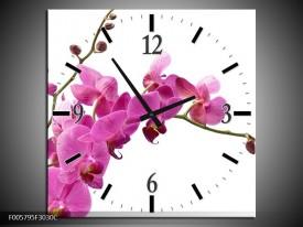 Wandklok op Canvas Orchidee | Kleur: Roze, Wit | F005795C