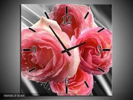 Wandklok op Canvas Roos | Kleur: Grijs, Roze | F005812C