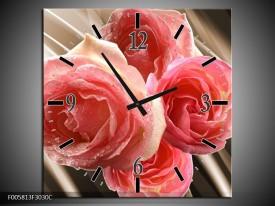 Wandklok op Canvas Roos | Kleur: Sepia, Roze | F005813C