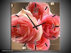 Wandklok op Canvas Roos | Kleur: Sepia, Roze | F005816C