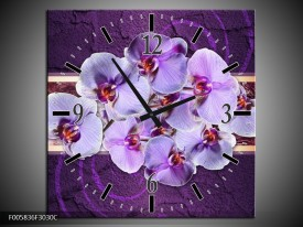 Wandklok op Canvas Orchidee | Kleur: Paars | F005836C