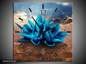 Wandklok op Canvas Modern | Kleur: Blauw, Bruin | F005841C