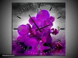 Wandklok op Canvas Orchidee | Kleur: Paars, Grijs | F005850C