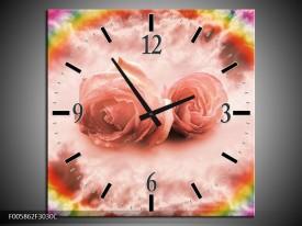 Wandklok op Canvas Roos | Kleur: Roze | F005862C