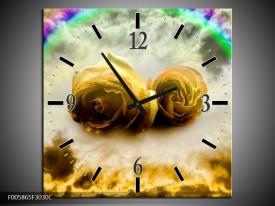 Wandklok op Canvas Roos | Kleur: Geel, Grijs | F005865C
